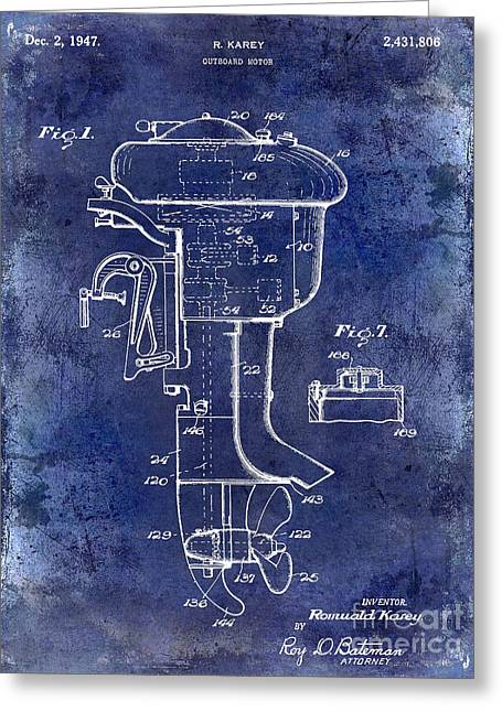 Large-mouth Bass Greeting Cards - 1947 Outboard Motor Patent Drawing Blue Greeting Card by Jon Neidert