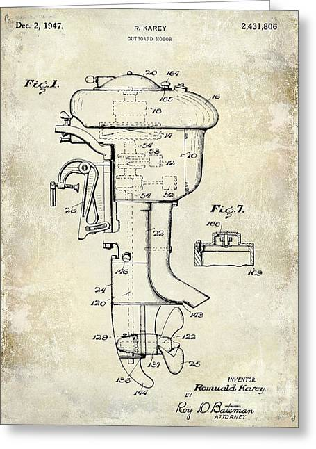 Yamaha Greeting Cards - 1947 Outboard Motor Patent Drawing Greeting Card by Jon Neidert