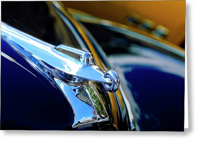 Vintage Hood Ornament Greeting Cards - 1947 Packard Hood Ornament 4 Greeting Card by Jill Reger