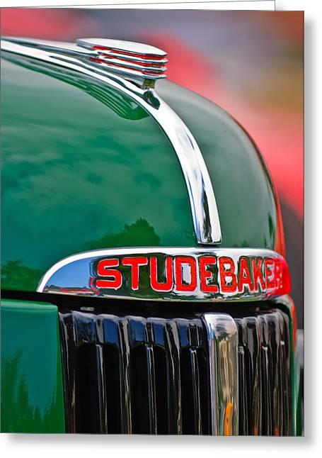 1947 Studebaker M5 Pickup Truck Grill Emblem - Hood Ornament Greeting Card by Jill Reger