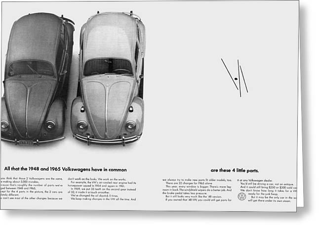 The Love Bug Greeting Cards - 1948 and 1965 Volkwagen Beetle  Greeting Card by Digital Repro Depot