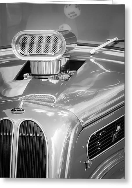 1948 Anglia Engine -522bw Greeting Card by Jill Reger
