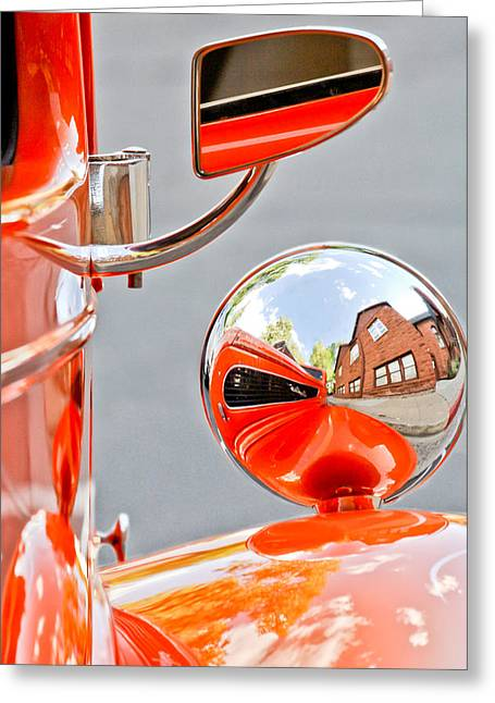 Rearview Greeting Cards - 1948 Anglia Rear View Mirror -451c Greeting Card by Jill Reger