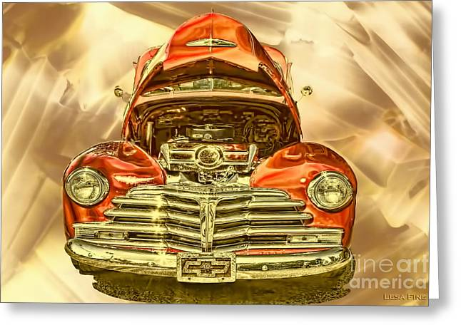 Chevrolet Greeting Cards - 1948 Chev Red Gold Metal Art Greeting Card by Lesa Fine