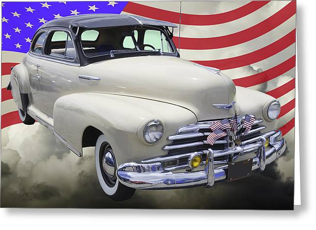 Blue Classic Car Greeting Cards - 1948 Chevrolet Fleetmaster Car With American Flag Greeting Card by Keith Webber Jr