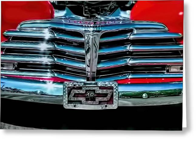 Vehicle Greeting Cards - 1948 Chevy 2100 FK Fleetmaster Grill View Greeting Card by Lesa Fine
