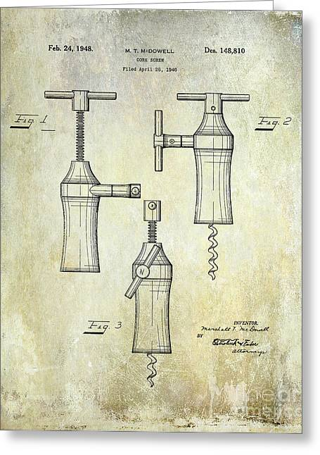 Wine Country. Greeting Cards - 1948 Corkscrew Patent Drawing Greeting Card by Jon Neidert