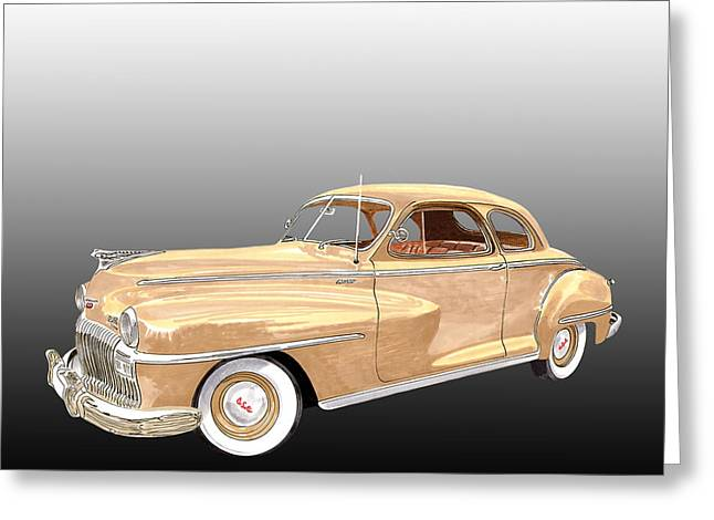 Desert Drawings Greeting Cards - 1948 De Soto Club Coupe Greeting Card by Jack Pumphrey