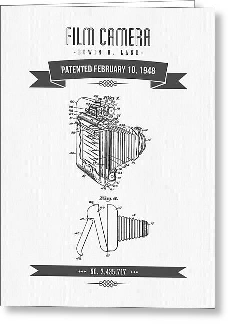 Camera Greeting Cards - 1948 Film Camera Patent Drawing - Retro Gray Greeting Card by Aged Pixel
