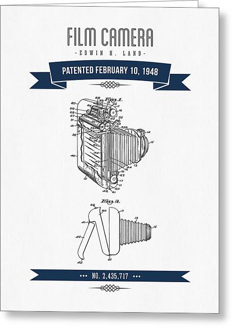 Camera Greeting Cards - 1948 Film Camera Patent Drawing - Retro Navy Blue Greeting Card by Aged Pixel