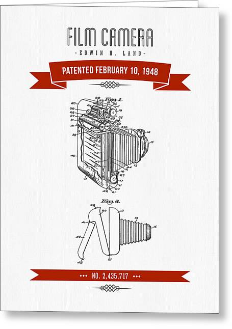 Camera Greeting Cards - 1948 Film Camera Patent Drawing - Retro Red Greeting Card by Aged Pixel
