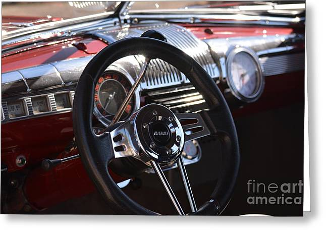 Basement Art Greeting Cards - 1948 Ford Coupe Dash Greeting Card by Barbara Dalton