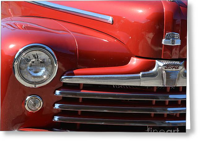 Basement Art Greeting Cards - 1948 Ford Coupe Vintage Car Greeting Card by Barbara Dalton