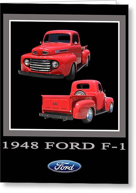 Custom Ford Greeting Cards - 1948 Ford F 1 Poster Greeting Card by Jack Pumphrey