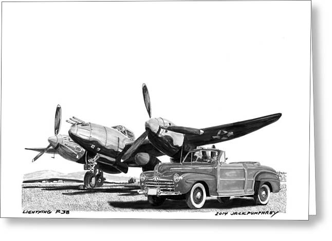 Single Drawings Greeting Cards - World War I I P 38 and 1948 Ford Sportsman Convert Greeting Card by Jack Pumphrey