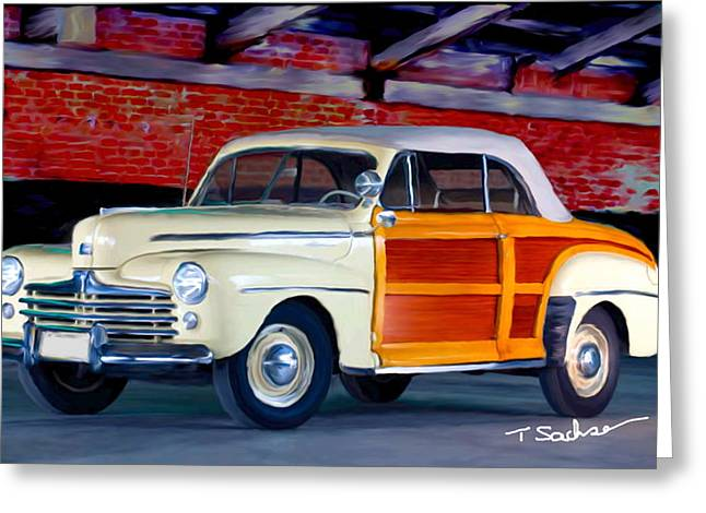 Delux Greeting Cards - 1948 Ford Super Delux Sportsman convertible woodie Greeting Card by Tom Sachse