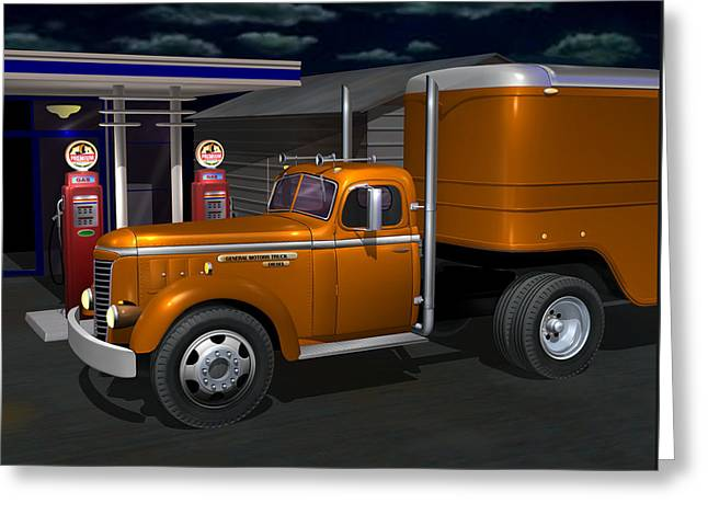 Long Nose Greeting Cards - 1948 GMC Diesel Greeting Card by Stuart Swartz
