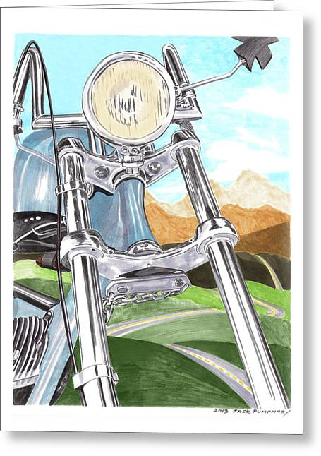 Mountain Road Drawings Greeting Cards - 1948 Harley Davidson W L A Greeting Card by Jack Pumphrey