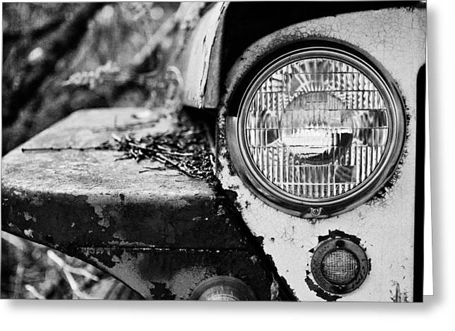 Jeep Greeting Cards - 1948 Jeep Willys in Black and White Greeting Card by Lisa Russo