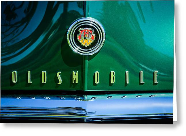 Wagon Greeting Cards - 1948 Oldsmobile 66 Series Woodie Wagon Grille Emblem -3176c Greeting Card by Jill Reger