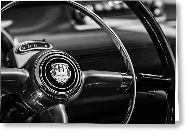1948 Greeting Cards - 1948 Oldsmobile 98 Convertible Steering Wheel Emblem -0901bw Greeting Card by Jill Reger