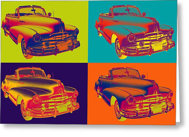 Vintage Hood Ornaments Digital Art Greeting Cards - 1948 Pontiac Silver Streak Convertible Car Pop Art Greeting Card by Keith Webber Jr