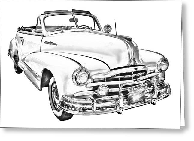 Old Digital Art Greeting Cards - 1948 Pontiac Silver Streak Convertible Illustration Greeting Card by Keith Webber Jr