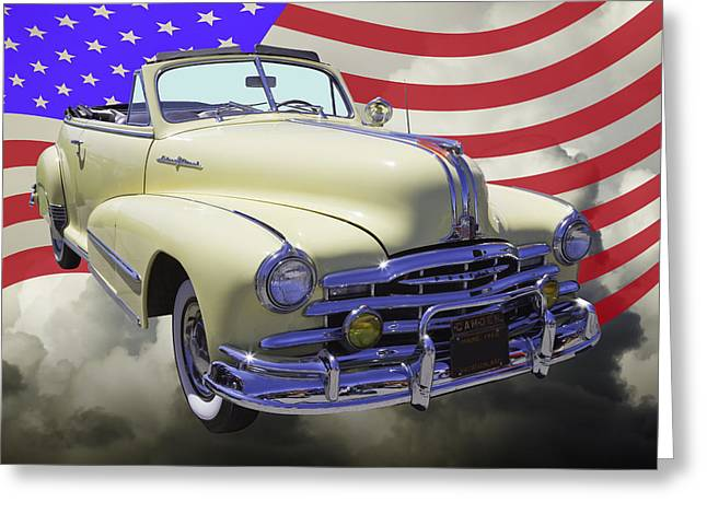 Old Door Greeting Cards - 1948 Pontiac Silver Streak With American Flag Greeting Card by Keith Webber Jr