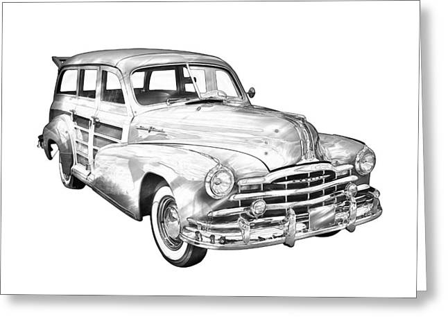 Old Digital Art Greeting Cards - 1948 Pontiac Silver Streak Woody Illustration Greeting Card by Keith Webber Jr