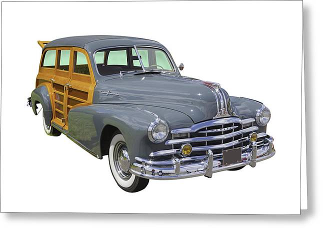 Oldtimer Greeting Cards - 1948 Pontiac Silver Streak Woody Greeting Card by Keith Webber Jr