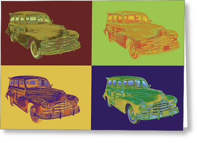 Vintage Hood Ornaments Digital Art Greeting Cards - 1948 Pontiac Silver Streak Woody Pop Art Greeting Card by Keith Webber Jr