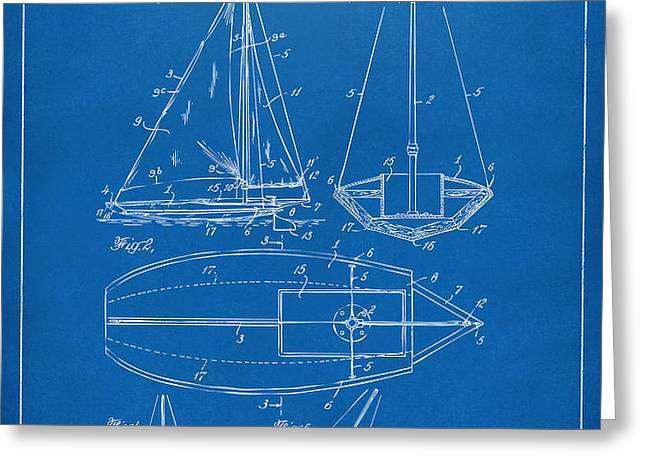 1948 Sailboat Patent Artwork - Blueprint Greeting Card by Nikki Marie Smith