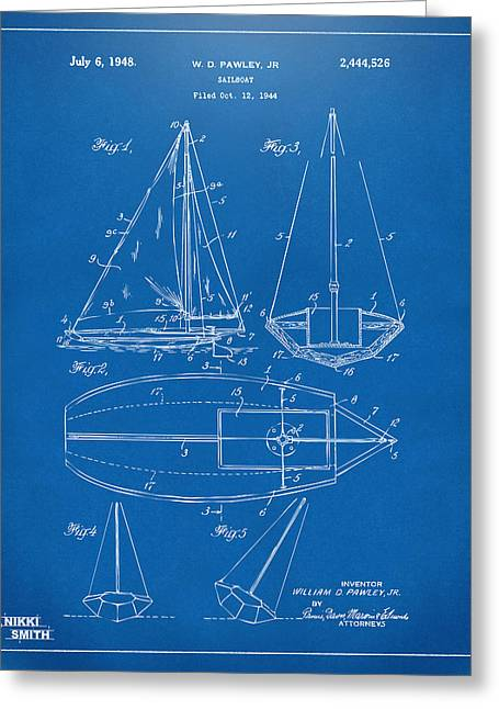 Blue Sailboat Greeting Cards - 1948 Sailboat Patent Artwork - Blueprint Greeting Card by Nikki Marie Smith