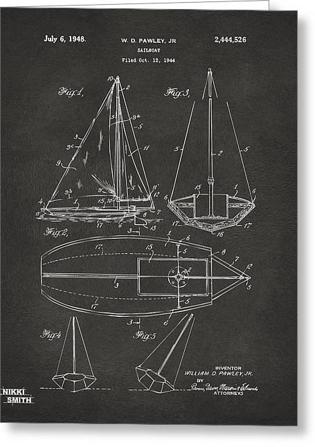 Navy Cross Greeting Cards - 1948 Sailboat Patent Artwork - Gray Greeting Card by Nikki Marie Smith