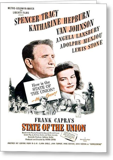 Lansbury Greeting Cards - 1948 - State of the Union Motion Picture Poster - Spencer Tracy - Katherine Hepburn - MGM - Color Greeting Card by John Madison