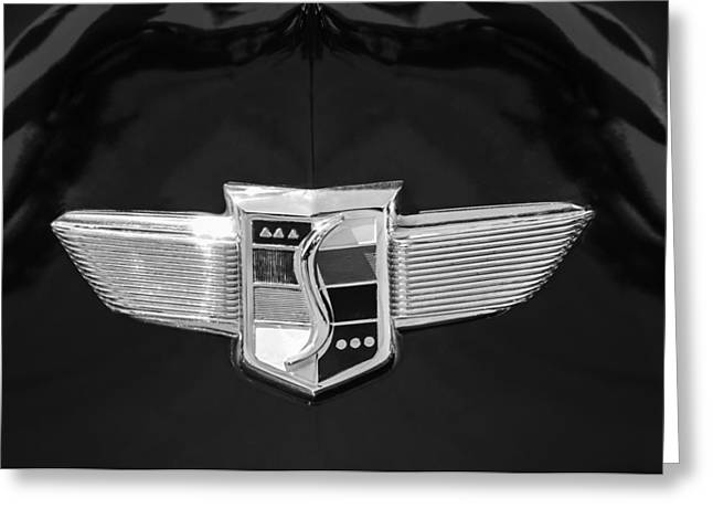 Black And White Photos Greeting Cards - 1948 Studebaker Logo -0588bw Greeting Card by Jill Reger