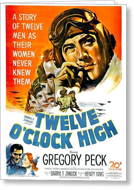 1949 Movies Greeting Cards - 1949 - Twelve O Clock High Movie Poster - Gregory Peck - Dean Jagger - 20th Century Pictures - Color Greeting Card by John Madison