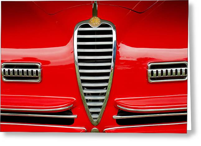 Ss Greeting Cards - 1949 Alfa Romeo 6C 2500 SS Pininfarina Cabriolet Grille Greeting Card by Jill Reger