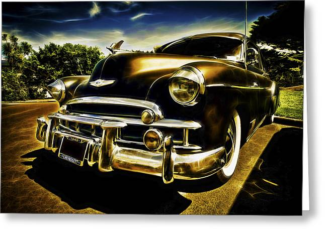 Custom Automobile Greeting Cards - 1949 Chevrolet Deluxe Coupe Greeting Card by motography aka Phil Clark