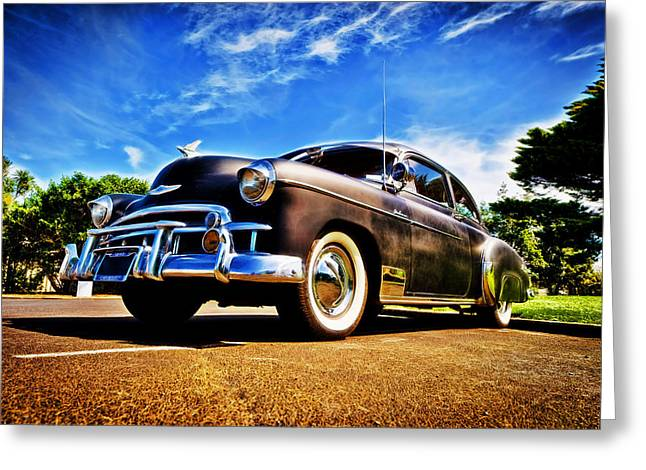 Phil Motography Clark Greeting Cards - 1949 Chevrolet Deluxe Greeting Card by motography aka Phil Clark