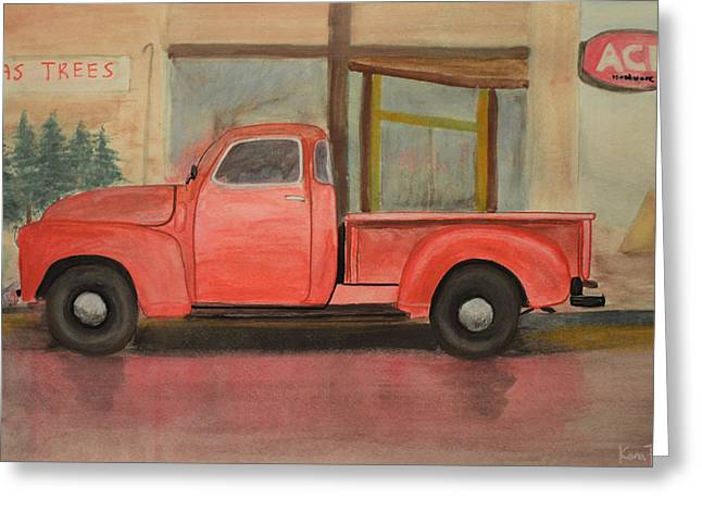 Hardware Paintings Greeting Cards - 1949 Chevy Pickup Greeting Card by Ken Figurski