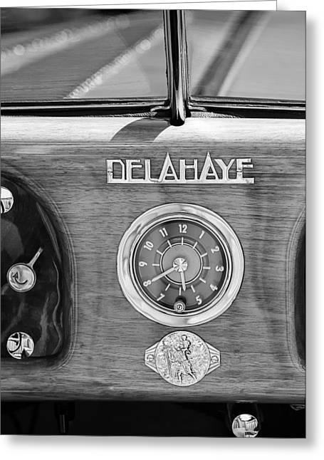 Dash-board Greeting Cards - 1949 Delahaye 175 S Cabriolet Dandy Dash Board Emblem - Clock Greeting Card by Jill Reger