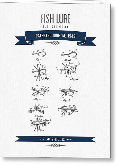 Fishing Rods Mixed Media Greeting Cards - 1949 Fish Lure Patent Drawing - Retro Navy Blue Greeting Card by Aged Pixel