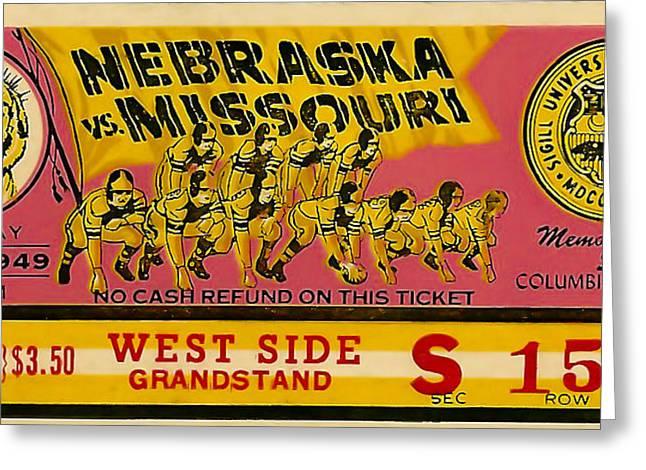 Gridiron Greeting Cards - 1949 Football Ticket - Nebraska vs Missouri Greeting Card by David Patterson