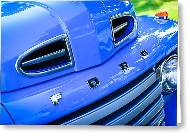 Classic Pickup Greeting Cards - 1949 Ford F-1 Pickup Truck Grille Emblem -0009C Greeting Card by Jill Reger
