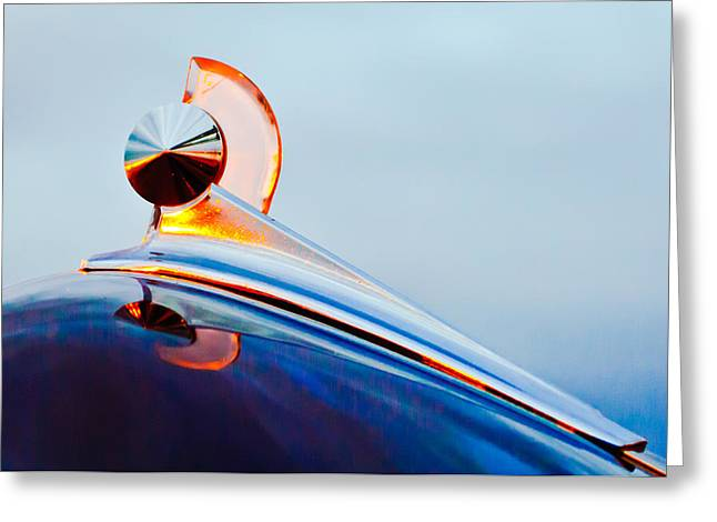 Vintage Hood Ornaments Greeting Cards - 1949 Ford Hood Ornament 2 Greeting Card by Jill Reger