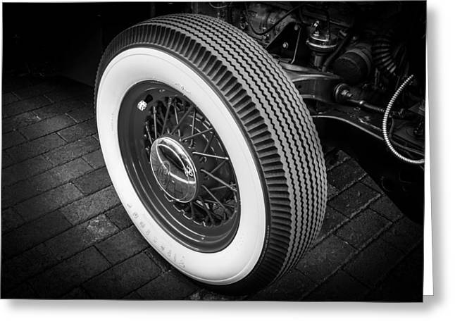 Wire Wheels Greeting Cards - 1949 Ford Pick Up Truck Wheel BW Greeting Card by Rich Franco