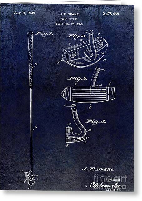 Lpga Greeting Cards - 1949 Golf Putter Patent Drawing Blue Greeting Card by Jon Neidert