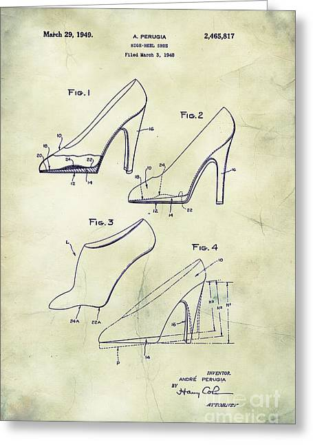 Boots Digital Greeting Cards - 1949 High Heel Shoes Patent Andre Perugia 1 Greeting Card by Nishanth Gopinathan