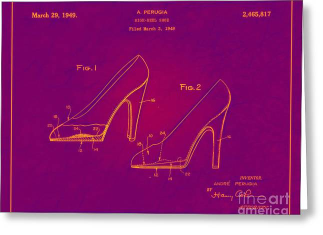 Boots Digital Greeting Cards - 1949 High Heel Shoes Patent Andre Perugia 11 Greeting Card by Nishanth Gopinathan
